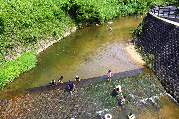 川遊びをしている子供たち