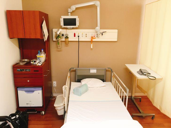実際に入院した部屋(ベッド)です