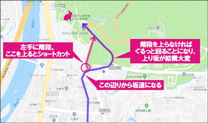 五月山動物園への道順
