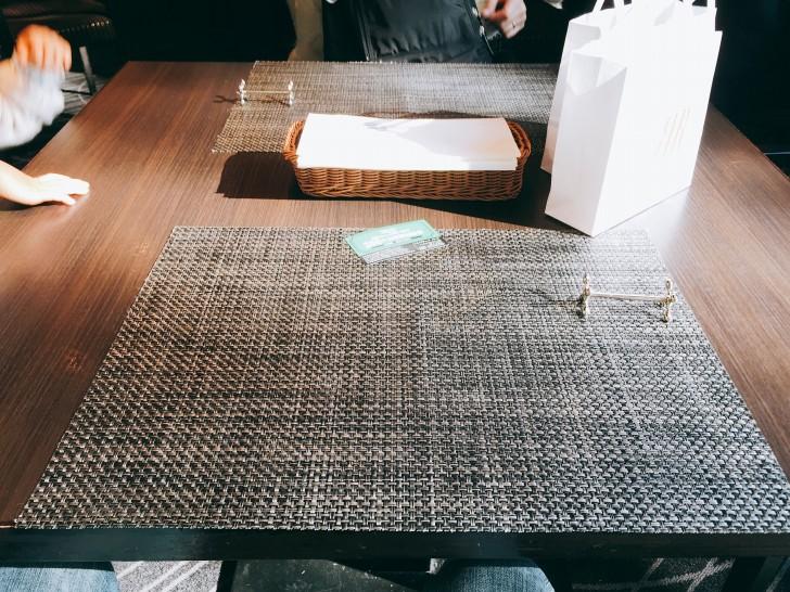 テーブルの上