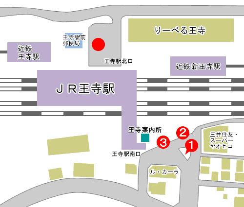 王寺駅のバスのりば案内図