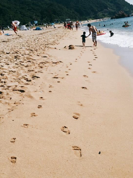 水晶浜で遊ぶパパと息子